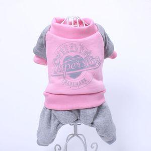 Leisure Pet Dog Fleece Hoodie Jumpsuit Letter Print Cat Puppy Sweater Coat Jacket Warm Clothes