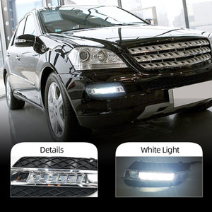 2PCS DRL For Mercedes Benz ML350 W164 ML280 ML300 ML320 2006 2007 2008 2009 Daytime Running Lights Fog head Lamp cover car styling