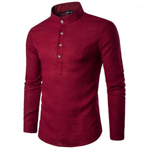 Fashion Solid Color Long Sleeve Stand Collar Shirt Male Clothing Mens 2020 Luxury Designer Shirts Casual