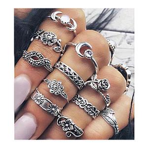 Anillos Midi Maravillosamente compromiso Boho Chic Moon Flowers Rose Antique Silver Gold Jewelry Accesorios 11pcs / set Conjuntos de anillos de boda