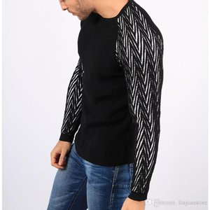 Autumn Mens Panelled Knitted Sweaters Crew Neck Long Sleeve Tops Casual Slim Mens Clothing