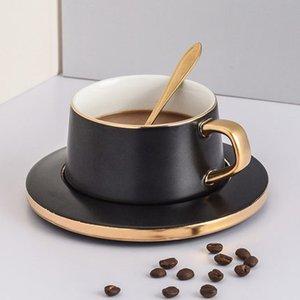 Чашки кофе Набор Главные Европейский Малого люкс Творческие Керамические кружки с ложкой с блюдцем Простого офисом Afternoon Tea Set