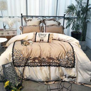 34مطرزة 80S Egyptian Cotton Bedding Set Leopard Print Davet Cover Bed Lanen bed sheet Pillowcads