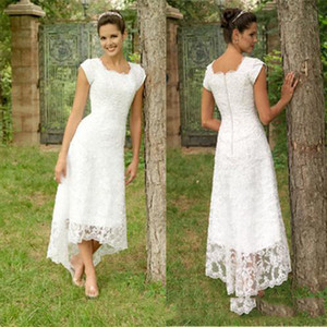 Vintage Full Lace Hi-Lo robes de mariée avec col rond Livraison gratuite vente chaude robe de mariée manches courtes robes de mariée