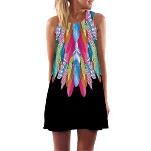 2019 женщин платье женская мода лето без рукавов мини старинные 3D цветочные печати Бохе бак короткие мини-платье Vestidos стиль zomer Майка sukienka