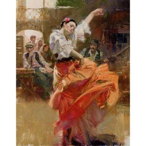 "PINO Sanat Boyama ""FLAMENKO IN RED"" Ev Dekorasyonu Handpainted Yağ On Tuval Wall Art Canvas Resimler 200.606 Boyama"