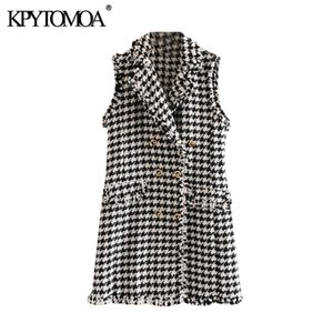 KPYTOMOA Femmes Chic Mode double breasted effiloché Garniture Tweed Mini robe Vintage manches à carreaux Femme Robes Robes Mujer MX200508