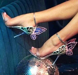 새로운 디자인 높은 품질 여성 나비 하이힐 샌들 절묘한 아름다운 날개 신발 여성 연회 패티 정장 구두 MX200407