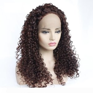 14-26 Inch Lace Front Wigs Deep Curly Glueless Heat Resistant Synthetic Fiber Full Wig With Baby Hair Half Hand Tied