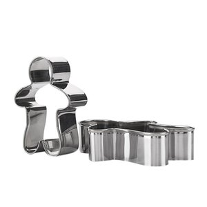 3PCS Stainless Steel Gingerbread Man Cookie Moulds Durable Fondant Cutters Kitchen Baking Tool For New Year Christmas Other Bakeware