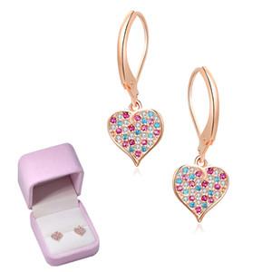 Dangle Earrings Drop Earrings heart love kid earring Silver and golden gravel birthday gift for woman girl