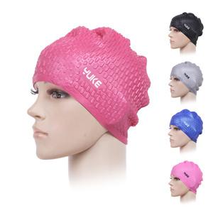 Elástica impermeável PU Silicone Natação Caps Ears Proteger Cabelo Comprido Sports Swim Piscina Cap Hat
