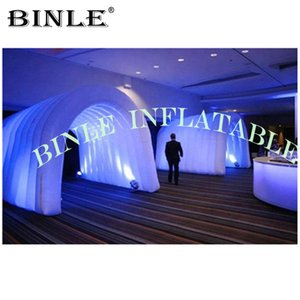Shiny 3m high inflatable tunnel tent passageway White Air dome for wedding party event ideas