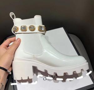 Designer-19 Bottes de femme avec la botte cheville en cuir strass Ceinture et bottillons Pour Chaussures Femmes
