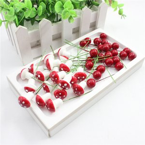 10pcs lot Mini Fake Plastic Fruit Small Berries Artificial Flower red cherry Stamen Pearlized Wedding Christmas Decorative