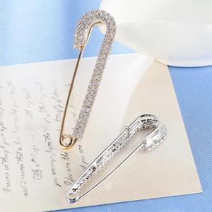 Strass Broches Sécurité Pin - Cristal Big Pins Broche Pour Femmes Filles Robe Plaqué Or Élégant Broche Designer De Luxe Bijoux