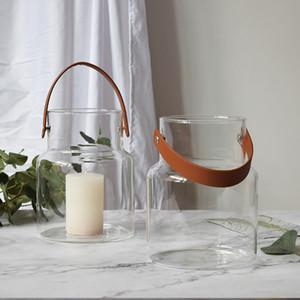 Nordic vetro dimensioni del serbatoio di stoccaggio manico in pelle creativa vaso fornire domestico trasparente bottiglia idroponica Candlestick