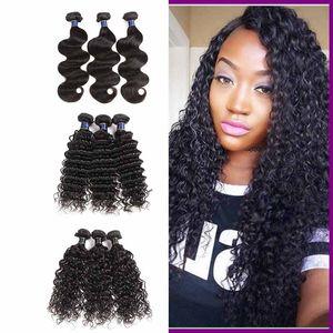Бразильские кузова глубоковолновые расслоения 3/4 расслоения Лот Малайзийская волоса для волос Virgin Волна Свободные Глубокие прямые пакеты волос Расширения 50 г / шт.