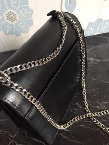 De haute qualité en cuir véritable chaîne en métal sacs à main chaîne d'or en cuir lisse Argent Femmes chaîne Sacs à bandoulière viennent avec la boîte