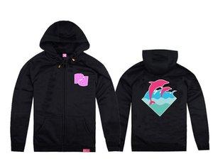 Schwarz Pink Dolphin Strickjacke Hoodiesweatshirt freies Verschiffen nagelneues Hip-Hop-Pullover Fleece-Pullover Kleidung Männer Kapuzenpulli tragen