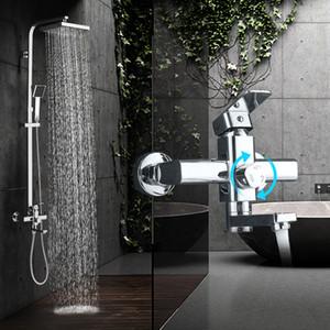 Modern Chrome Chuvas torneira do chuveiro Monocomando Banheira Mixer Tap Wall Mounted