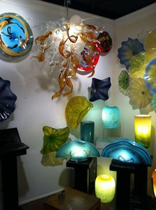 Murano Glass Plates for Hotel Wall and Window Hanging Handmade Blown Glass Wall Lamps