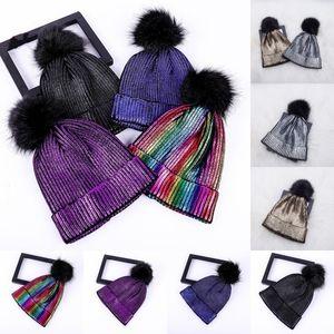 Shining Gold Silver Cap Otoño Invierno Turban Beanie Hat Para Mujeres Cálidas Casual de punto Sombrero Chica Skullies Gorros