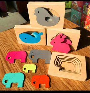 Multilayer Jigsaw Puzzles Baby Toys Montessori Kids Wooden Toys For Children Animal Carton 3D Puzzle Early Educational Aids Gift Y200317