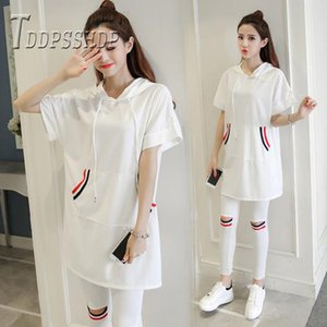 2019 Summer Plus Size Do Exercise Women Sets Black and White Color T Shirt and Pants Female Set Y200701
