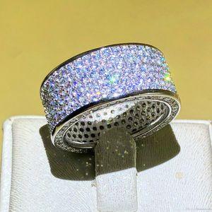 High Fashion Luxurious Jóias Parágrafo 925 Sterling Silver Gemstone Rings Dedo Luminoso 320pcs completa Simulado Diamond Ring para mulheres homens