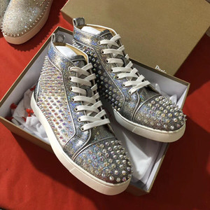 BOX Newest Hot Mens Glitter Leather Sneaker with Red Bottom Skateboard Fashion Studs Walking Luxury Designer Women Casual Shoes