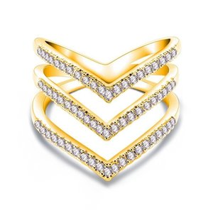 Multiple layers V-shape Crystal Zircon Ring Gold Rose gold Silver Exaggerated Wedding Rings Jewelry Women Anniversary party