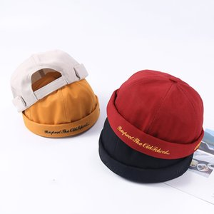 Brimless Hat for Men Women Fitted Cotton Bonnet Skullcap Red Letter Youth Summer Black Brimless Cap Docker Sailor Watch Beanie
