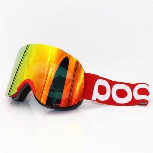 POC العلامة التجارية نظارات غطاء للتزلج طبقات مزدوجة العدسة لمكافحة الضباب تزلج كبيرة نظارات قناع التزلج على الجليد من الرجال والنساء الثلوج وضوح الشبكية