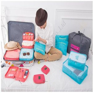 Storage Bag 6 Pieces Suit Double Zipper Protable Travel Clothing Bags Luggage Clothes Sundries Package Organizer Solid Color Bags Hot E11304