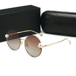 Paketi ile 2183 Lüks Güneş İçin Kadınlar Deisnger Yuvarlak Full Frame UV400 Lens Yaz İnci Stil Çerçeve Klasik Tasarım gel