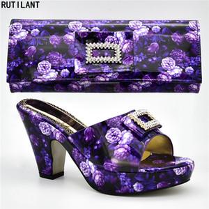 Nuove vendite di arrivo in donne scarpe abbinate e set di sacchetti decorati con strass Block Heel Shoes Nigerian Women Wedding Shoes