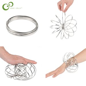 1pc Magic Bracelet Aniti-stress Magic Toroflux Funny Flow Ring Kinetic Spring Toys 304 Stainless Steel Flow Color Rings Toys ZXH