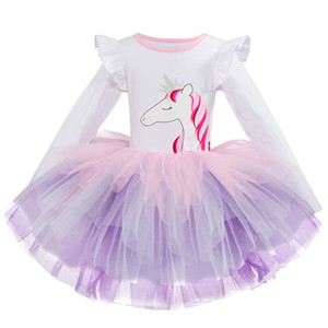 Girls Princess Party Wear Dresses vestido unicornio Dresses Baby Kids Carnival Costume Children Clothing Unicorn Birthday Dress