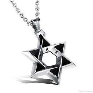 Davidstern-Anhänger Männer Halskette mit Religious Wörter Steeless Stahlgliederkette LuckBlesiing Schmuck-Geschenk für Jungen GX1102