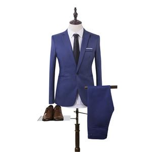 New 2 Pieces Business grace Blazer+Pants Suit Sets Men Autumn Fashion Solid Slim Wedding Set Vintage Classic