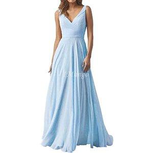 Небесно-голубой шифон невесты платья Длинные V-образным вырезом Кружева-Up Назад A-Line Country Свадебные гости платья дешевые плюс размер горничной честь Gowns