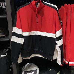 2019 новый мужской свитер на молнии строчкой спорта и отдыха пуловер ретро спорт половина молния свитер пуловер пальто куртки 1840 Толстовки