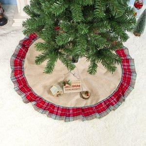 Falda del árbol de Navidad a cuadros volante 100cm tela de poliéster árbol de Navidad Falda creativa del árbol de navidad de fondo decoración Alfombras Tapetes DBC VT1093