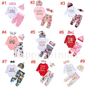 Baby Girl Clothes Spring and Autumn Printed Letters Sweet 1set =Rompers+pants+headband+hat