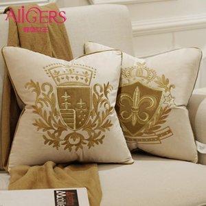 Avigers Broderie Velvet Coussin luxe Coussin européen Couverture Oreiller Geometry Case décoratifs pour la maison Canapé Chaise Coussin