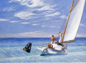 Edward Hopper Anschwellen des Meeresbodens Wohnkultur Handbemalte HD-Druck-Ölgemälde auf Leinwand-Wand-Kunst-Leinwandbilder 200208