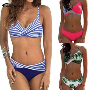 Zafuaz 2019 Mujeres Backless Stripe Twist Front Crossed Tankini Halter Swimsuit Traje de baño retro Traje de baño de talla grande Mujer Y19072401