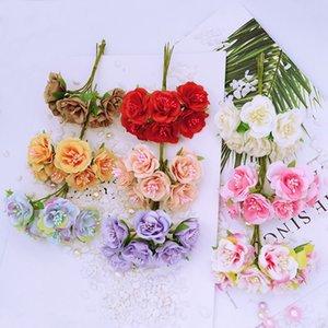 48pcs ramo precioso caja de regalo de Navidad guirnalda DIY accesorios de decoración para el hogar de la boda libro de recuerdos falsos estambre flores artificiales baratas