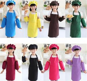 Kids Aprons Hat Sleeve Set Cooking Baking Kitchen Apron Art Painting Kids Pocket Craft Apron Printable LOGO A03